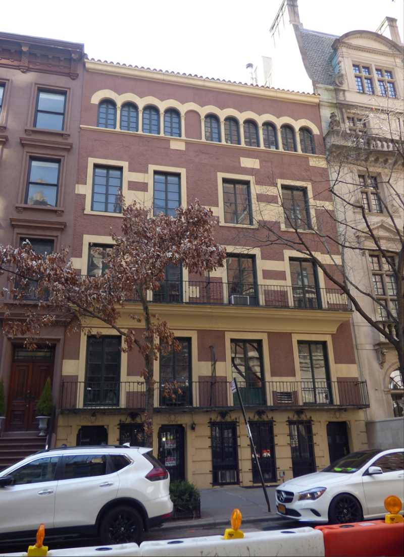 Existing front elevation of 34 East 70th Street - J.L. Ramirez Architect
