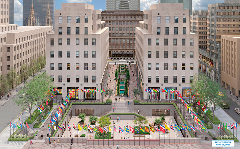 Aerial rendering of proposed updates for Rockefeller Plaza - Tishman Speyer; Gabellini Sheppard Associates