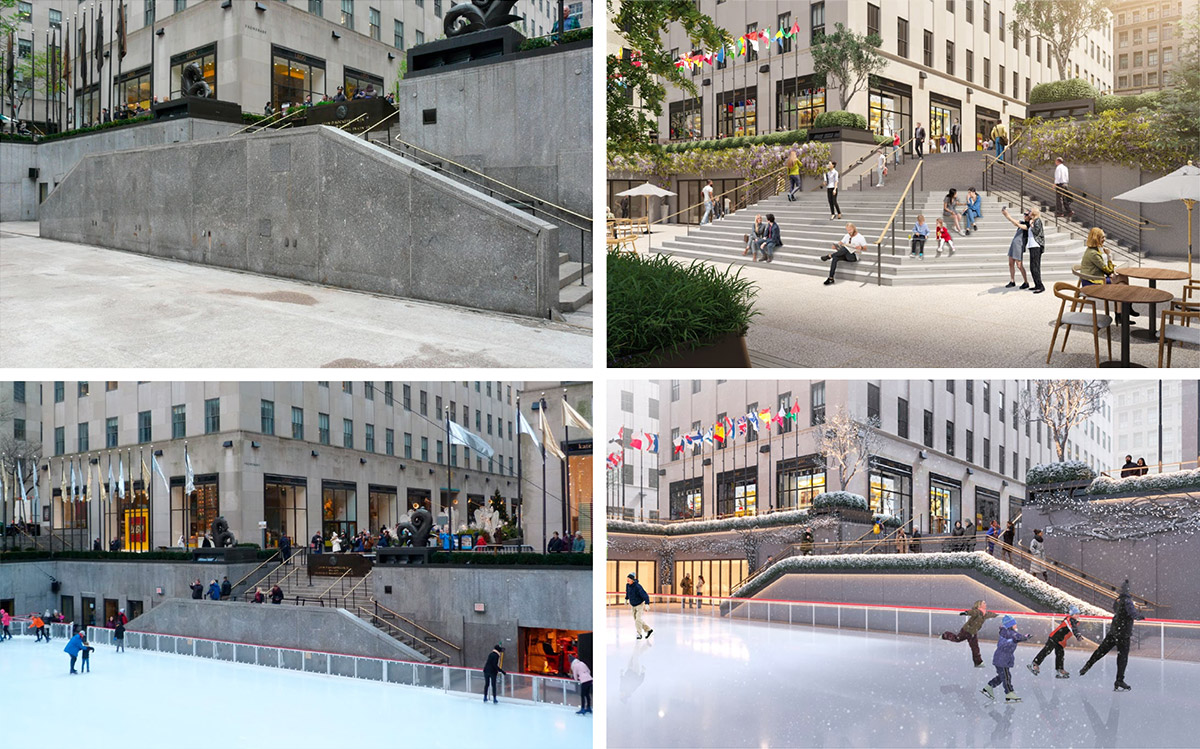 Existing photo (left; top and bottom) of sunken plaza compared to revised renderings (right; top and bottom) - Tishman Speyer; Gabellini Sheppard Associates