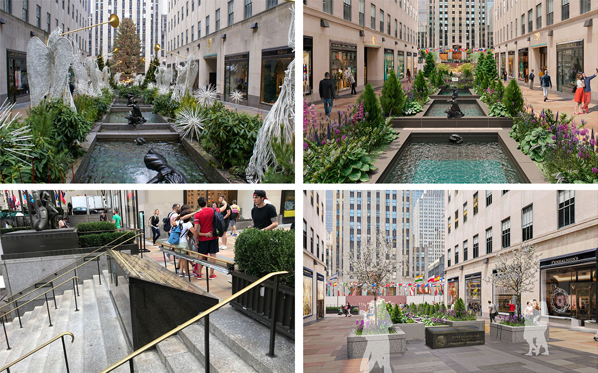 Existing photo (left; top and bottom) of Channel Gardens and the John D. Rockefeller Jr. monument compared to revised renderings (right; top and bottom) - - Tishman Speyer; Gabellini Sheppard Associates