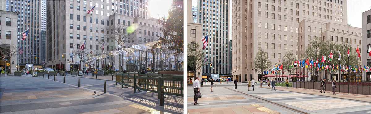 Existing photo (left) of 30 Rock pedestrian area compared to renderings (right) - Tishman Speyer; Gabellini Sheppard Associates