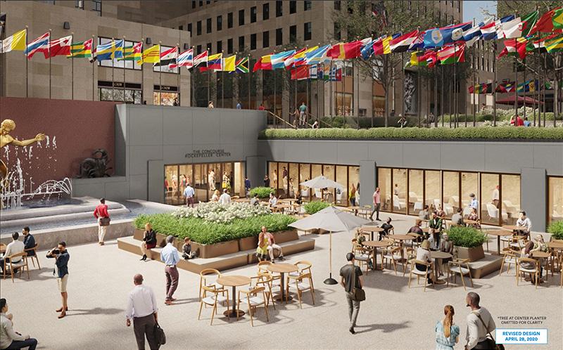 Rendering of retail storefronts along the border of the sunken plaza - Tishman Speyer; Gabellini Sheppard Associates