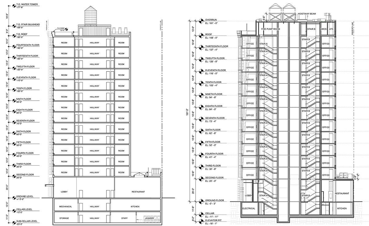 Previous building section (left) and current diagrams (right) of 1162 Broadway - Morris Adjmi Architects