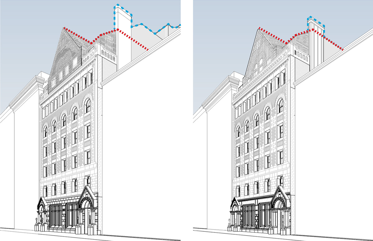 Illustration of roof-level massing from street level; original proposed conditions (left) and newly proposed massing (right) - BKSK architects
