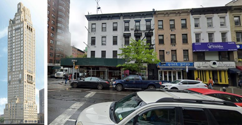 200 East 83rd Street, Rendering (left), existing structure on the property (right)