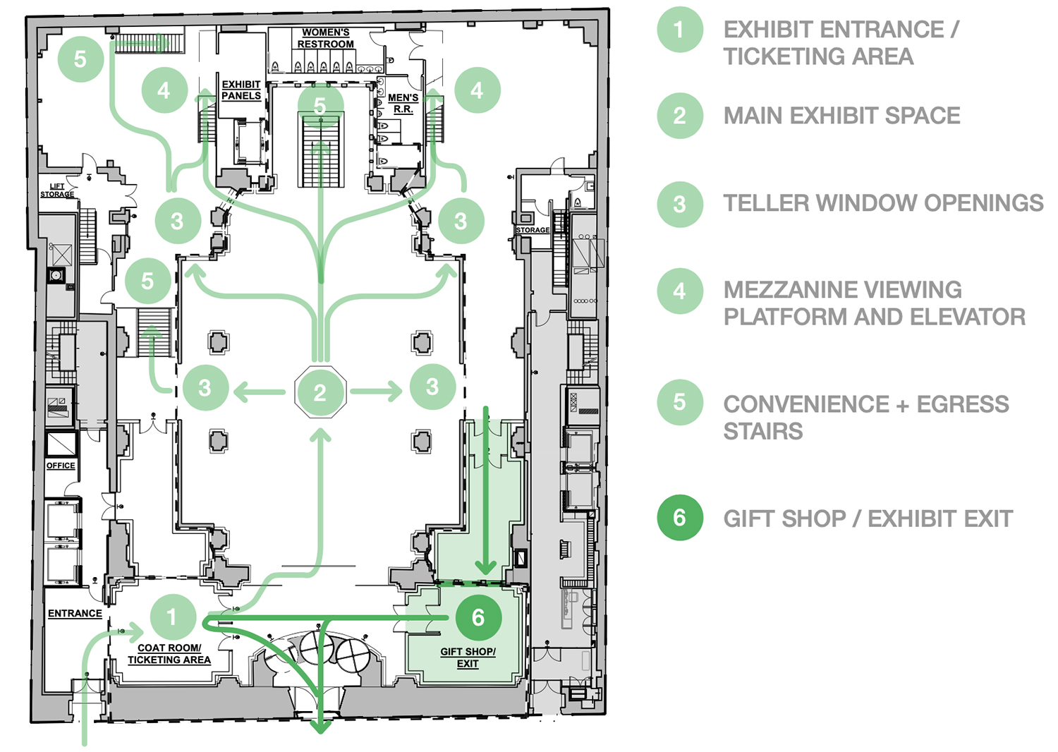 Map of proposed activations for immersive exhibition space 'Hall Des Lumieres' - Culturespaces / Woods Bagot