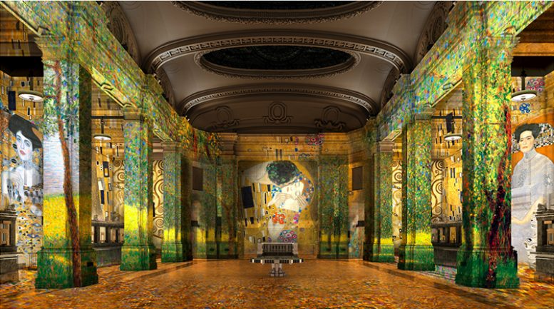 Rendering of immersive exhibition space 'Hall Des Lumieres' - Culturespaces / Woods Bagot