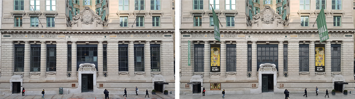 Existing facade (left) and proposed facade changes (right) - Woods Bagot