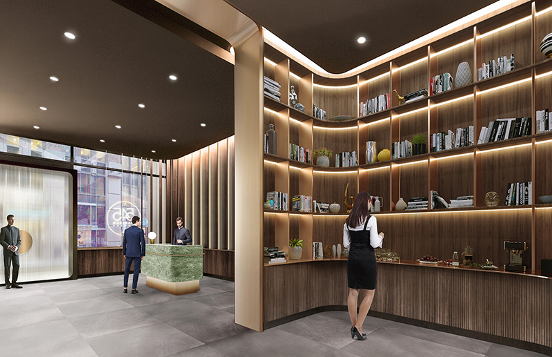 Rendering of repositioned lobby and ground floor library - Studios Architecture; Marx Realty