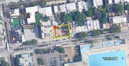Aerial view of development site at 633 Dekalb Avenue - Google Maps