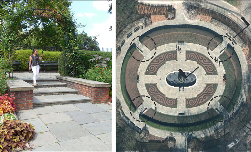 Existing stairs (left) and proposed changes at the Central Park Conservatory Garden - Central Park Conservancy