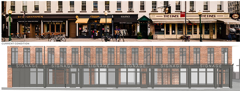 Existing conditions (top) and rendering of proposed alterations (bottom) of the lower-level retail component - BKSK Architects