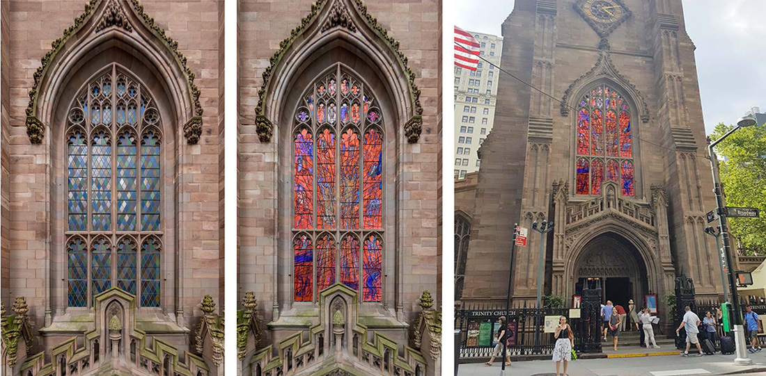Existing exterior stained glass (left) and renderings of proposed designs for Trinity Church - Photo courtesy of Murphy Burnham & Buttrick (MBB) Architects