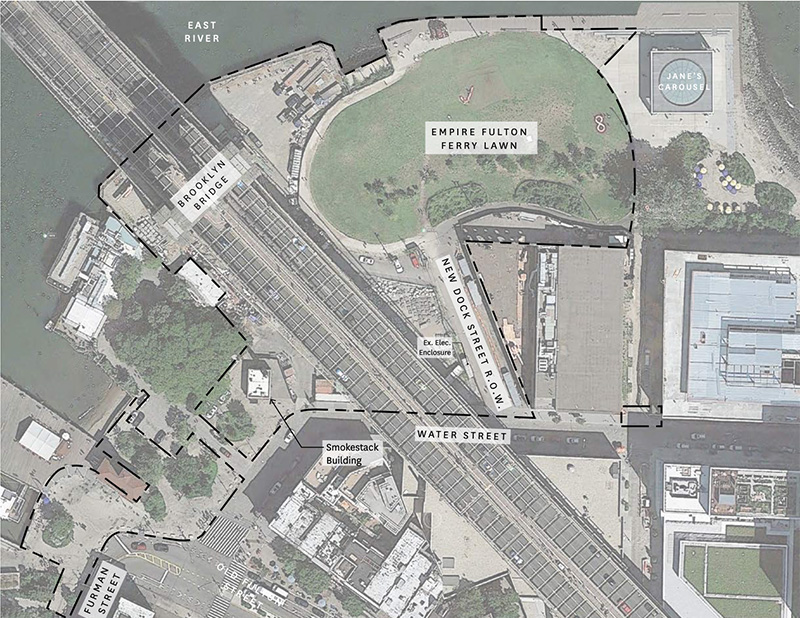 Map of existing plaza surrounding Brooklyn Bridge Park - Brooklyn Bridge Park Corporation