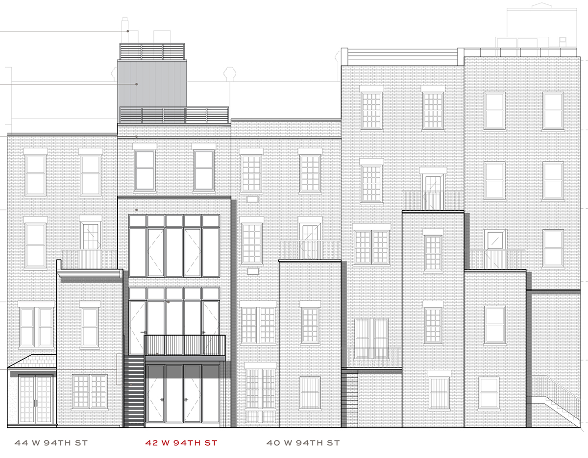 Rear elevations of 42 West 94th Street and neighboring properties - Groves & Co