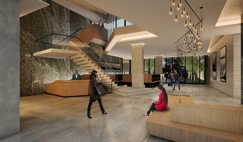Rendering of Archer Towers lobby (Photo courtesy of Studio V Architecture)