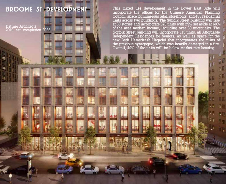 Rendering of Broome Street Development via Dattner Architects