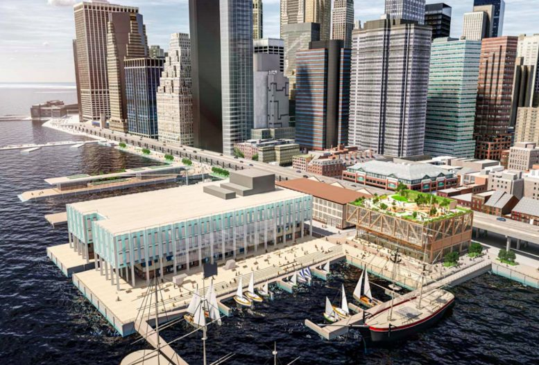 Rendering of South Street Seaport Market by Skidmore, Owings & Merrill