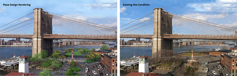 Rendering of proposed (left) and existing (right) public spaces under the Brooklyn Bridge - Brooklyn Bridge Park Corporation