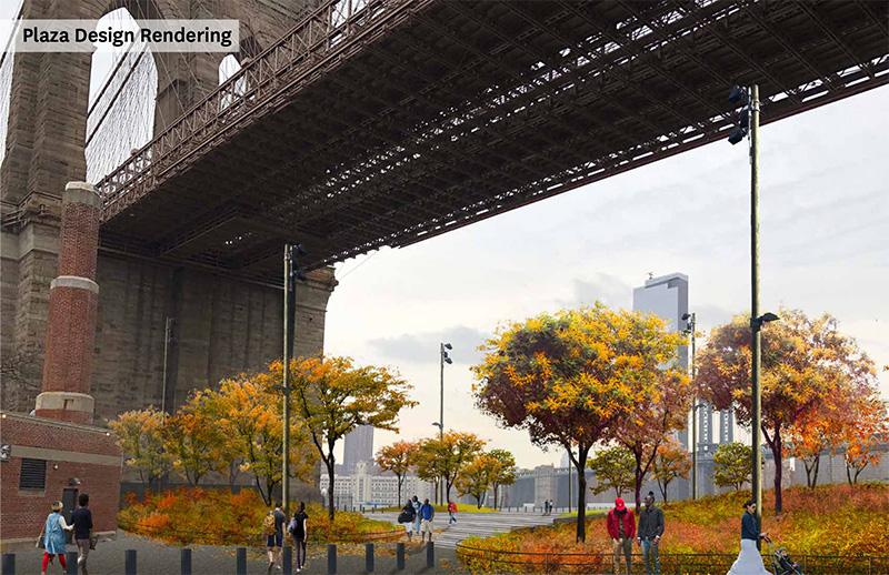Rendering of proposed public spaces under the Brooklyn Bridge - Brooklyn Bridge Park Corporation