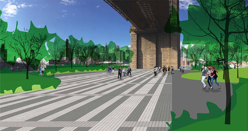 Rendering of proposed public spaces under the Brooklyn Bridge Plaza - Brooklyn Bridge Park Corporation