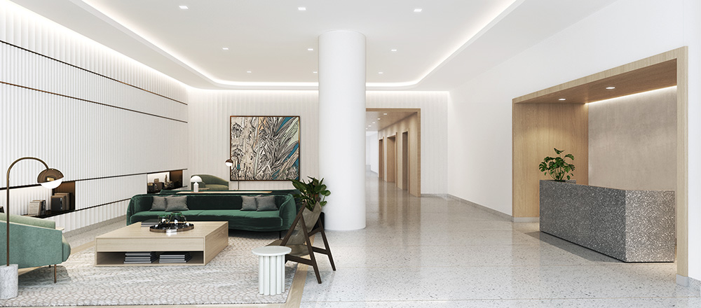 Rendering of residential lobby at The Dime - Fogarty Finger Architecture