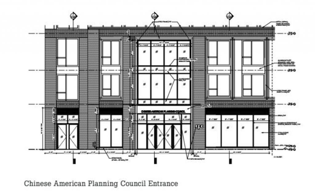 Rendering of the Chinese American Planning Council Entrance via Dattner Architects