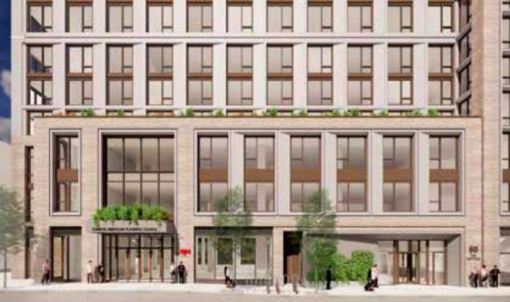 Rendering of the Suffolk Street Entrance via Dattner Architects