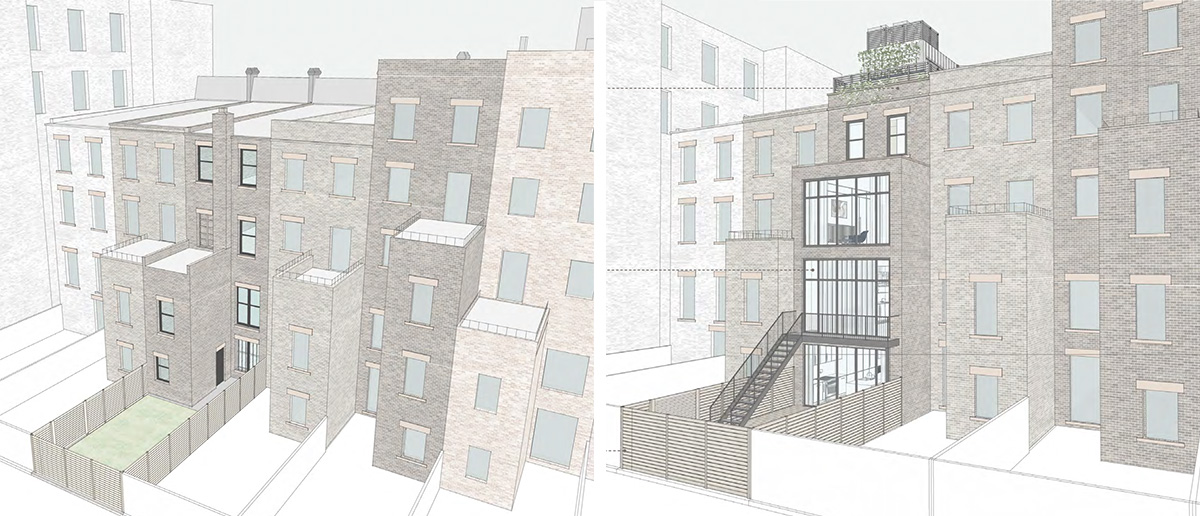 Renderings of existing rear elevation and proposed facade at 42 West 94th Street - Groves & Co