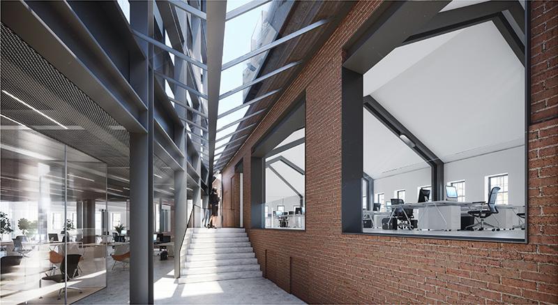 Renderings of second floor office suite - BKSK Architects