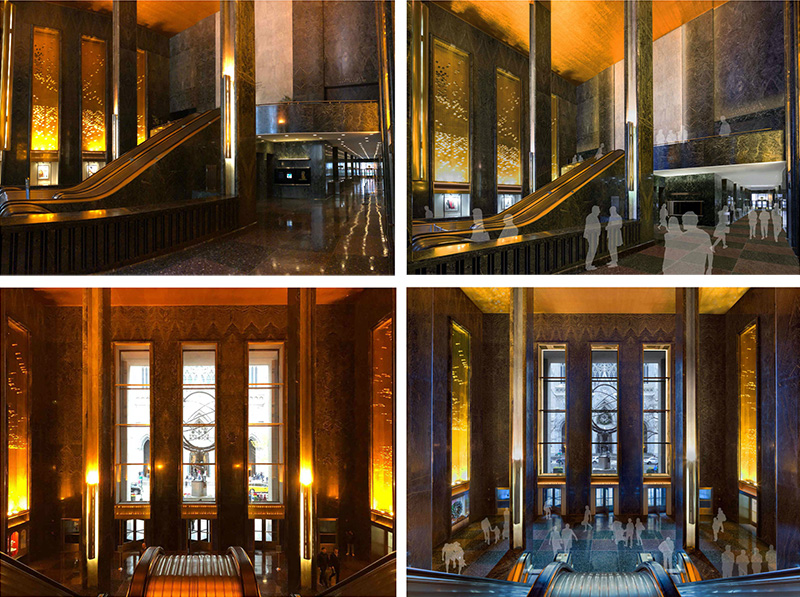 45 Rockefeller Plaza - Existing (left) and proposed east lobby and mezzanine (right) - Gabellini Sheppard Associates