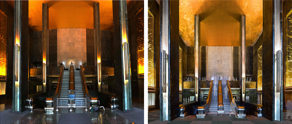 45 Rockefeller Plaza - Existing (left) and proposed east lobby and mezzanine (right) looking west (Gabellini Sheppard Associates)