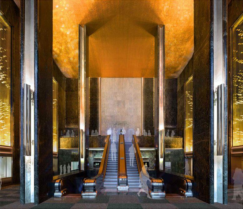 45 Rockefeller Plaza - Proposed east lobby and mezzanine looking west (Gabellini Sheppard Associates)