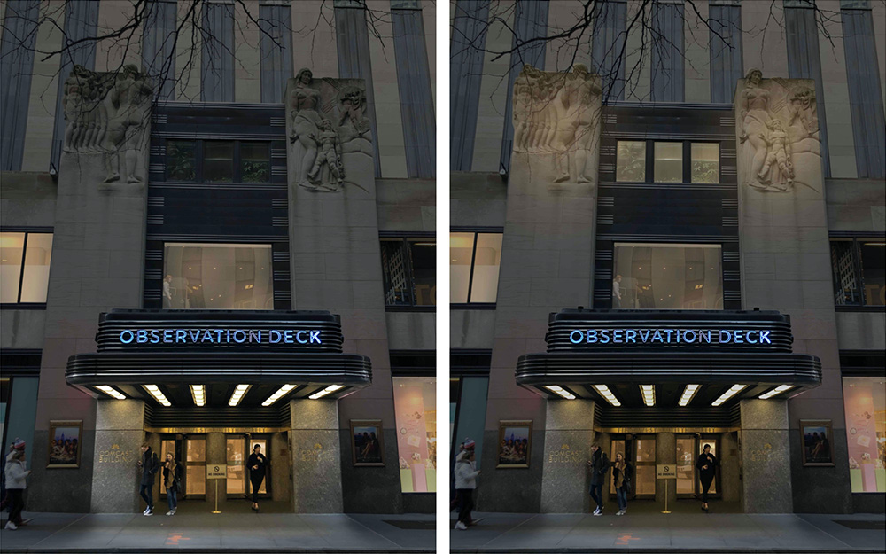 50 West 50th Street Observation Deck Marquee - Existing conditions (left) proposed conditions (right) - Gabellini Sheppard Associates