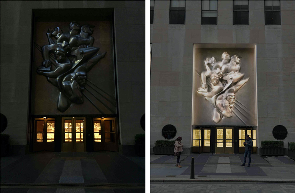 50 Rockefeller Plaza existing (left) and proposed alterations (right) at East Facade - Gabellini Sheppard Associates