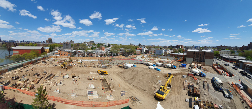 Aerial view of construction at 30-77 Vernon Boulevard - Fogarty Finger