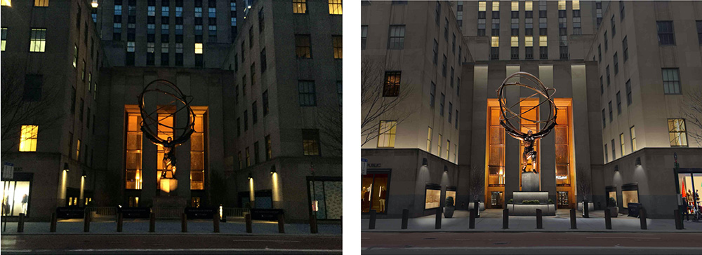 """Atlas"" at 630 Fifth Avenue in its existing presentation (left) and proposed illumination (right) - Gabellini Sheppard Associates"