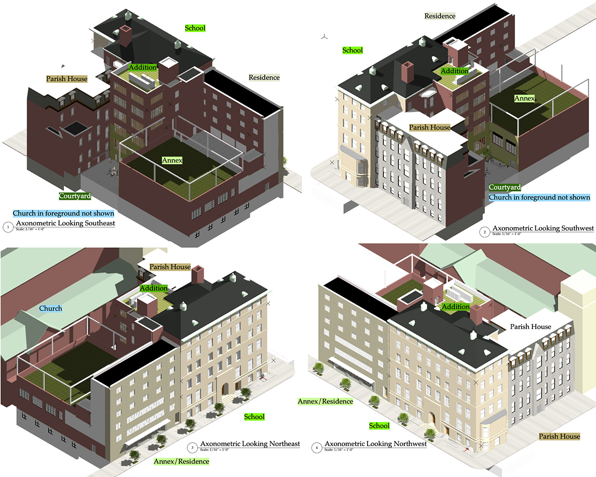 Axonometric view of the Loyola Campus and proposed addition - Ernest Harris Architects