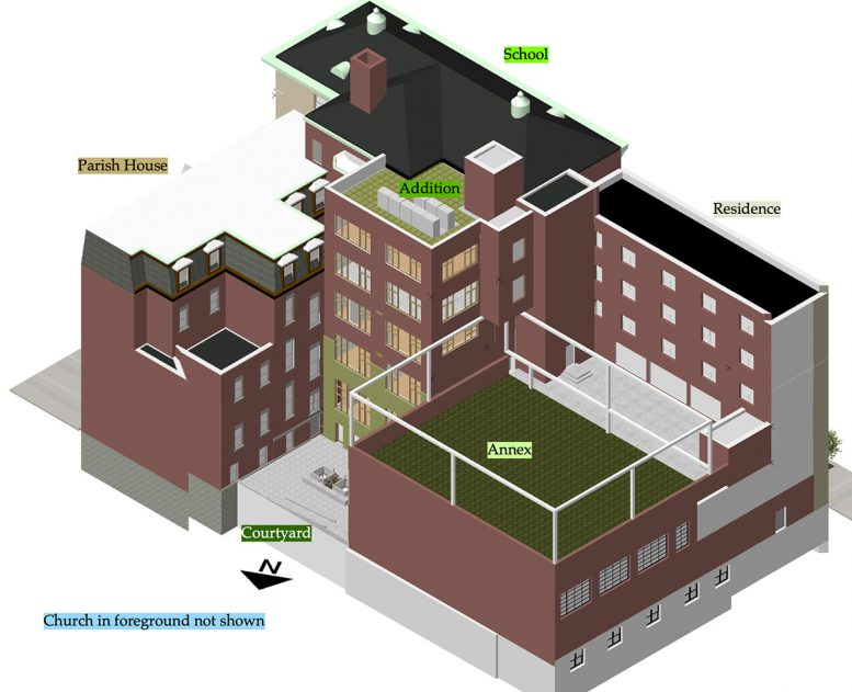 Axonometric view of the proposed addition - Ernest Harris Architects