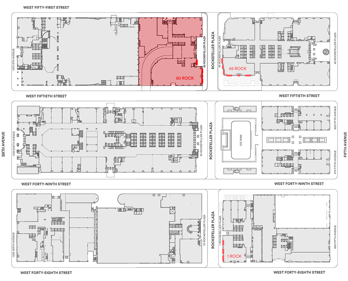 Bolded red locations indicate locations of proposed storefronts. Most recent proposals refer only to the area of the site highlighted in red. (Photo by Gabellini Sheppard Associates)