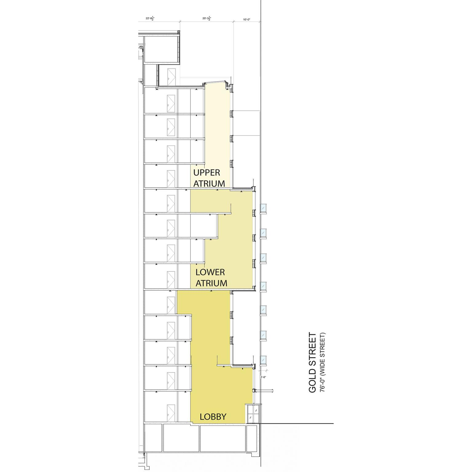 Building Section Illustrates atrium massing within 260 Gold Street - J Frankl Associates