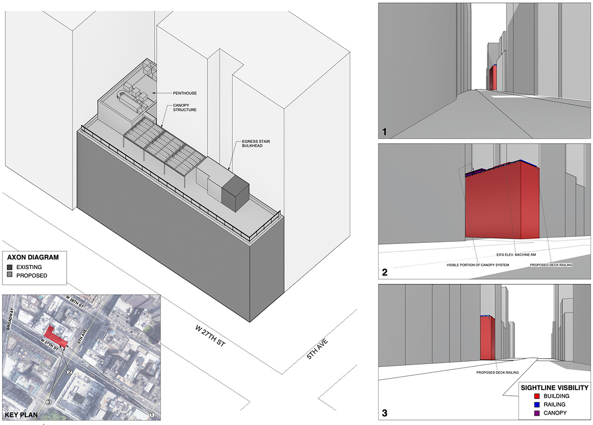 Diagram of 234 Fifth Avenue illustrates street level visibility of the proposed building, canopy, and required mechanicals at 234 Fifth Avenue - NV/design.architecture