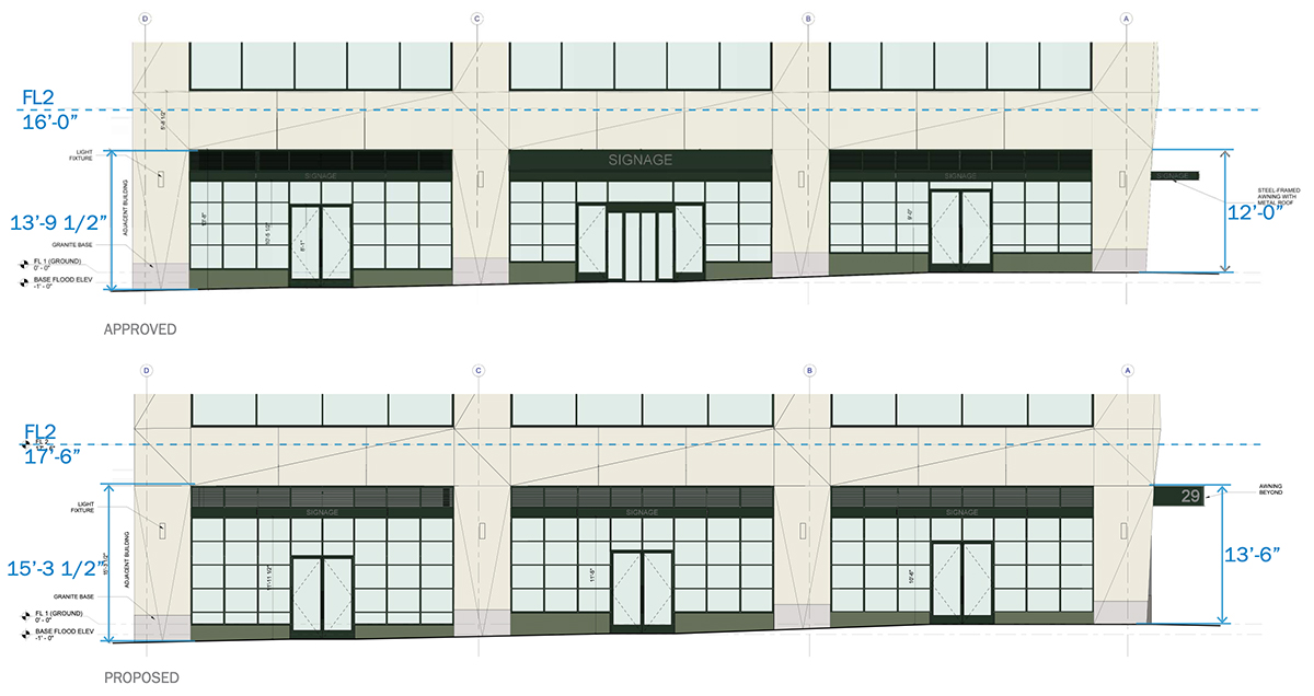 Elevation diagram illustrates proposed (top) and previously approved ground floor height (bottom) - Marvel Architects