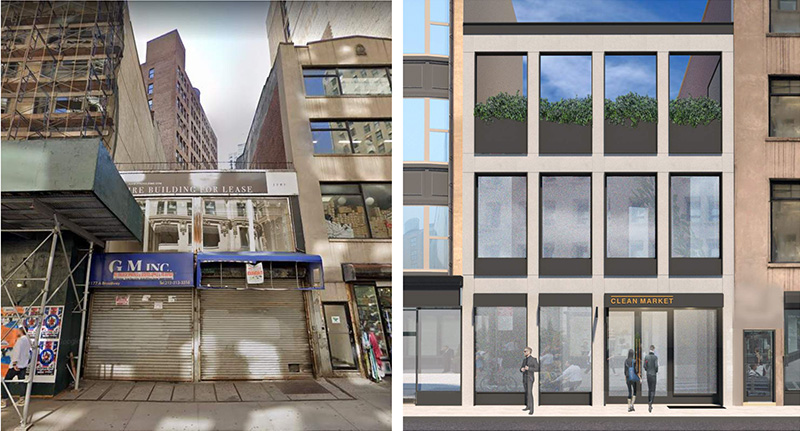Existing (left) and proposed conditions at 1177 Broadway - Heitler Houstoun Architects