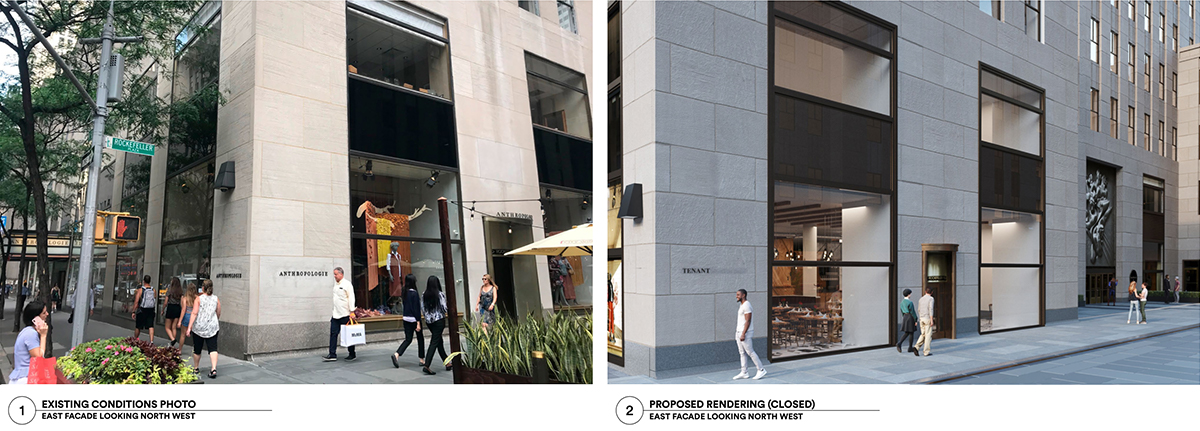 Existing (left) and proposed conditions of the retail storefront. (Photo by Gabellini Sheppard Associates)