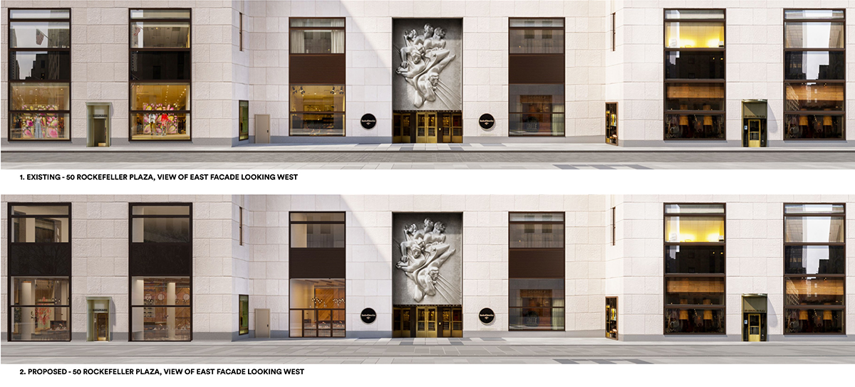 Existing (top) and proposed conditions (bottom) of the retail volumes west elevation. (Photo by Gabellini Sheppard Associates)