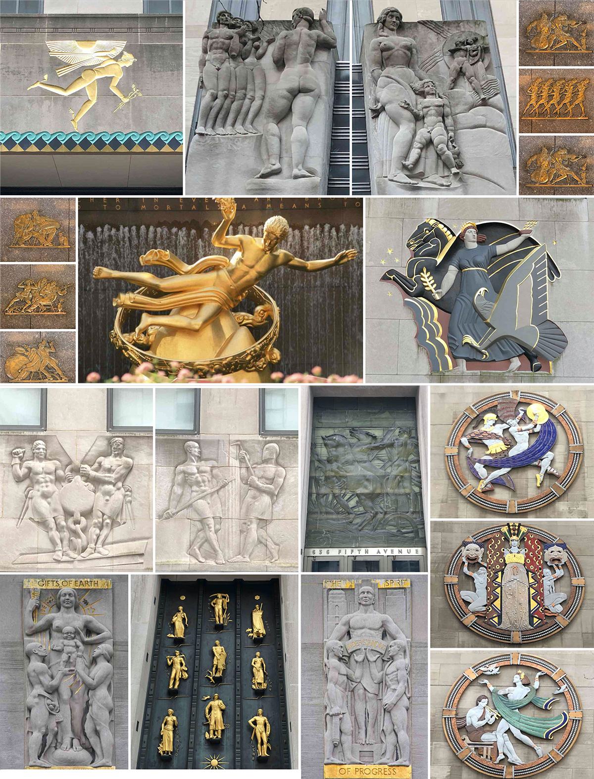 Collage of all existing artworks within Rockefeller Plaza to be affected by the proposed alterations - Gabellini Sheppard Associates