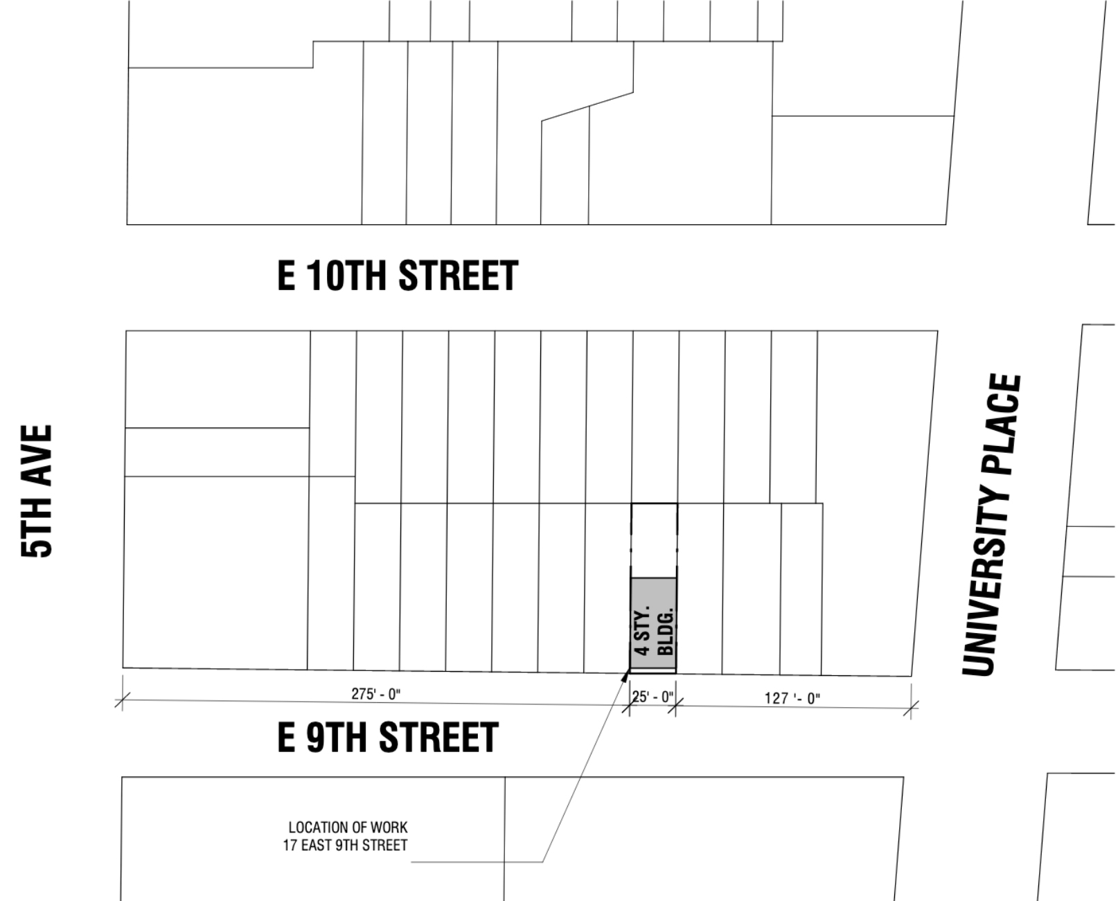 Map illustrates the project location and site surrounding 17 East 9th Street