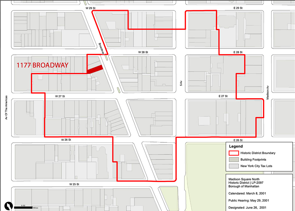 Map depicts the Madison Square North Historic District outlined in red and the location of 1177 Broadway (Graphic Source - Map PLUTO, Edition 18v1, Author- New York City Landmarks Preservation Commission, LCR Date- 2.5.2019)