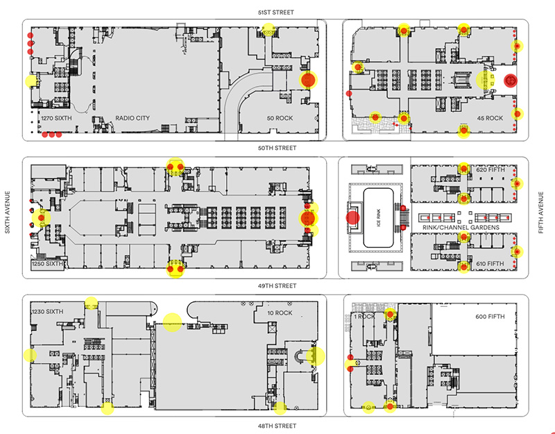Map of Rockefeller Center indicates existing artworks (red) and building entries (yellow) to be affected by this phase of proposals - Gabellini Sheppard Associates